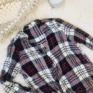 Anthropologie plaid high-low blouse